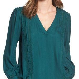 Hinge Green Lace Stripe V-Neck Blouse